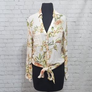 New York and Company Floral Front Tie Shirt